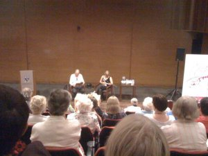 Bad pic of one of my favourite sessions: interviewing Alex Miller at Perth Writers Fest in 2010.
