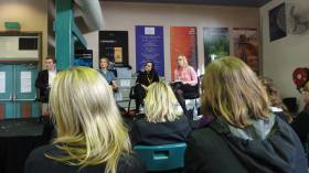 Writers Who Blog panel at Sydney Writers' Fest 2013. Mark Forsyth, Tara Moss, Lorraine Elliott &  myself.