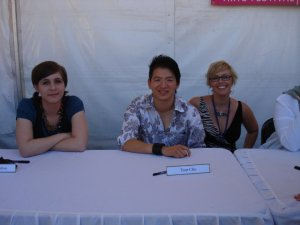Eleanor Catton, Tom Cho and I at the signing table at Perth Writers Fest in 2010.