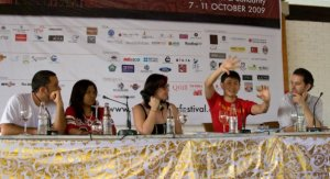 A New Frontier: Blogging, Dissent & Solidarity at Ubud Writers & Readers Fest 2009: Dian Di SudutBumi, myself, Ng Yi-Sheng and Antony Loewenstein.